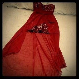 Windsor Burgundy High Low dress
